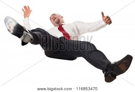 man falling down isolated on white