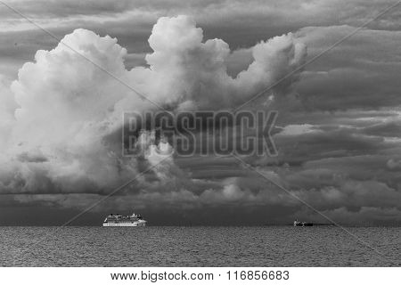 Cruise Liner And Stormy Clouds
