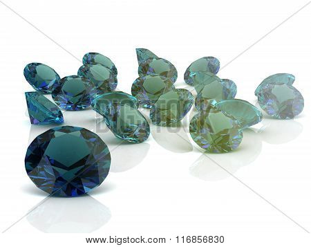 Alexandrite On White Background. High Quality 3D Render