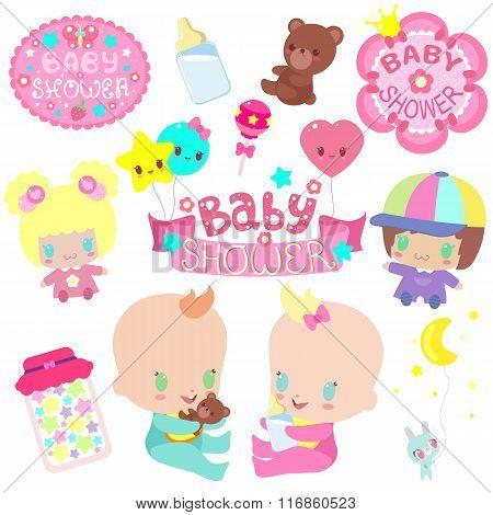 Set of Baby Shower for your wonderul design