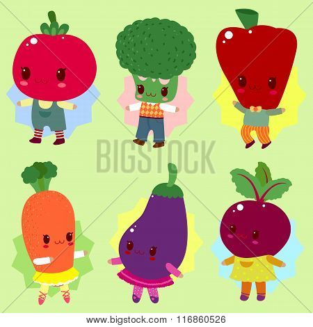 The cheerful company of vegetables for the children's menu