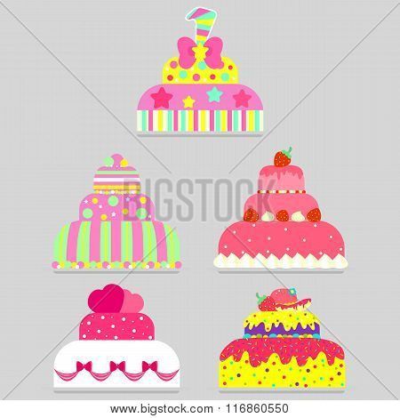 Big set of different cakes for all occasions: weddings, valentine's day, birthday, any holidays