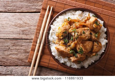 Traditional Oyakodon And Rice In A Bowl. Horizontal Top View