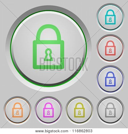 Set of color Locked padlock sunk push buttons. poster