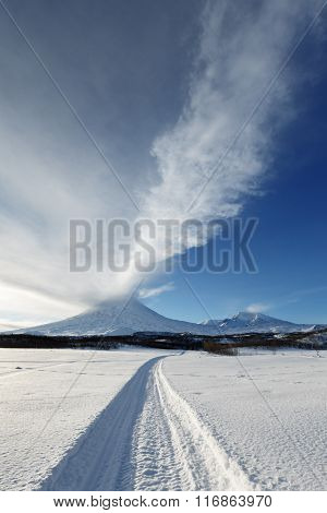 Eruption Active Klyuchevskoy Volcano On Kamchatka Peninsula