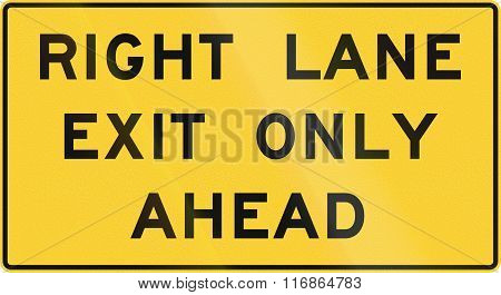 United States MUTCD road sign - Right lane exit only ahead. poster