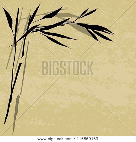 Hand Drawn Traditional Sumi-e Background With Bamboo. Vector Background. Black Ink Drawing On A Beig