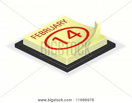 A Vector Illustration Of A Desk Calender Turned To Valentines Day