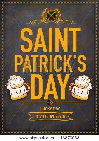 Creative pamphlet, banner or flyer design with stylish text Saint Patrick's Day on chalkboard background.