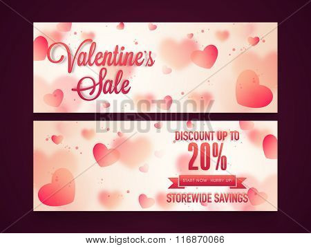 Glossy pink hearts decorated Sale website header or banner set with 20% discount offer on occasion of Valentine's Day.