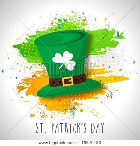 Creative Leprechaun Hat on Irish Flag color paint strokes for Happy St. Patrick's Day celebration.