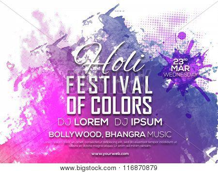 Stylish Party Invitation Card design for Indian Festival of Colours, Happy Holi celebration.
