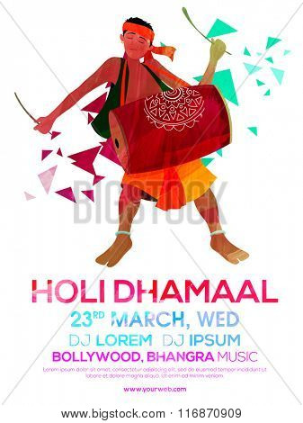 Creative Flyer, Banner or Pamphlet design with illustration of a man playing drum for Indian Festival of Colours, Happy Holi celebration.