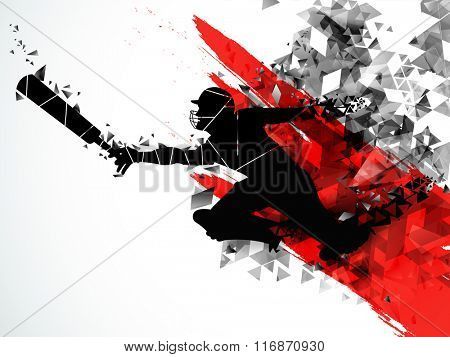Silhouette of a running Player to take a run on creative abstract background for Cricket Sports concept.