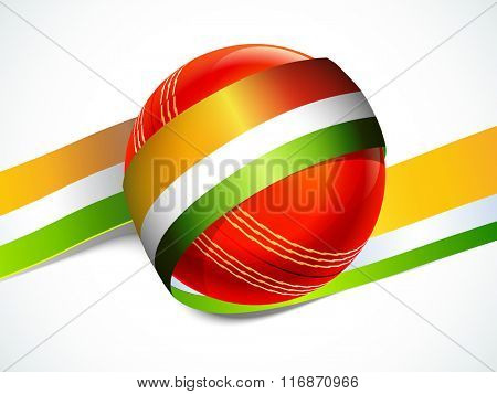 Glossy Red Ball with Indian Tricolour stripe for Cricket Sports concept.