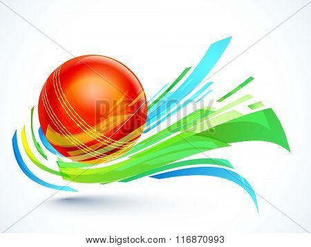 Glossy red Ball with abstract design on grey background for Cricket Sports concept.