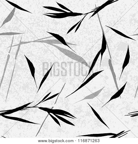 Vector Seamless Pattern. Black Hand Drawn Bamboo Leaves On A Light Grey Background.