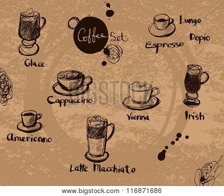 Vector Hand Drawn Set Of Coffee. Calligraphic Text: Cappuccino, Espresso, Americano, Latte, Glace, I