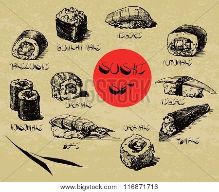 Vector Hand Drawn Sushi Set With Calligraphic Text. Sushi, Rolls, Asian Food Collection.