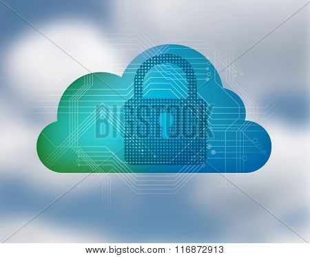 Cloud And Padlock Icon - Network Security Concept