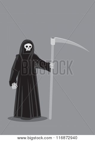 Vector cartoon illustration of Grim Reaper character personification of Death skeleton dressed in black hooded cloak costume and carrying a scythe isolated on plain grey background. poster