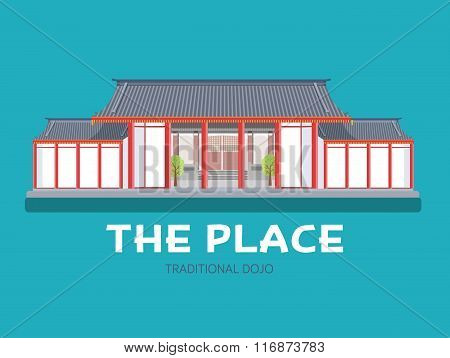 Japanese architecture house in flat design background concept. Japan traditional dojo place. Icons f