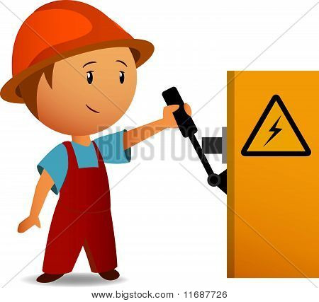 Little cartoon electrician switch on the power voltage