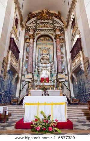Obidos, Portugal - August, 2015: The altar in Baroque style inside the church of the Senhor do Jesus da Pedra Sanctuary. Baroque architecture.