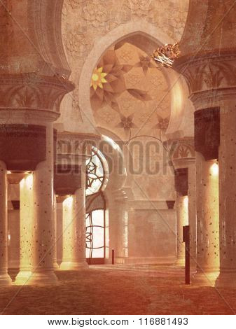 Sheikh Zayed Mosque in Abu Dhabi - interior view with oriental arches and pillars - retro design