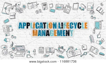 Application Lifecycle Management in Multicolor. Doodle Design.