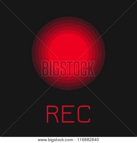 Rec button. Red flat icon.