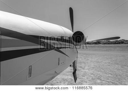 Plane Engine Propeller Black White