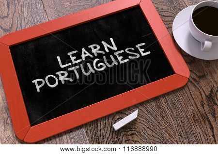 Learn Portuguese Concept Hand Drawn on Chalkboard.