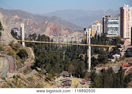 La Paz cityscape with the Bridge of the Americas