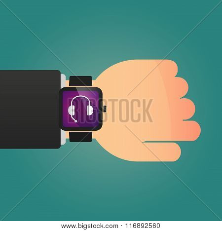 Man Showing A Smart Watch With  A Hands Free Phone Device
