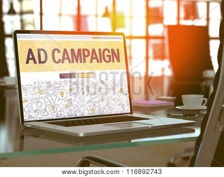 Ad Campaign Concept on Laptop Screen.