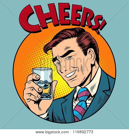 Cheers toast celebration man pop art retro style