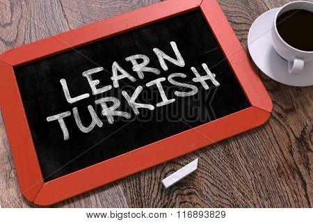 Learn Turkish Handwritten on Chalkboard.