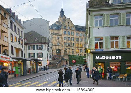 BASEL SWITZERLAND - JANUARY 1 2014: Street view in Old Town of Basel. Basel is a third most populous city in Switzerland. It is located on the river Rhine.
