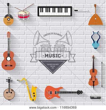 Music instruments on white modern brick wall concept. Icons design for your product or design, web a