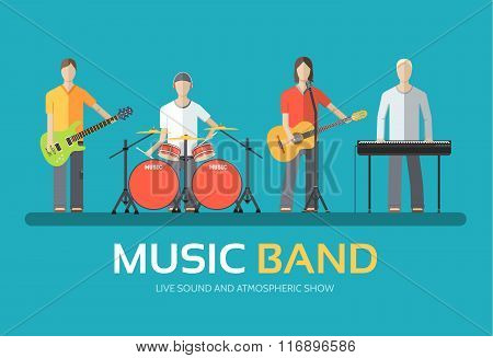 Music band in flat design background concept. Melodic musical concert quartet of musicians. Icons fo