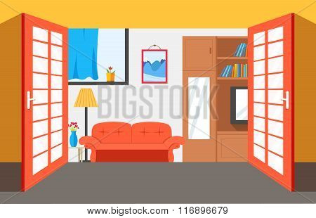 House room vector illustration background. Flat home interior furniture picture concept. Modern apar