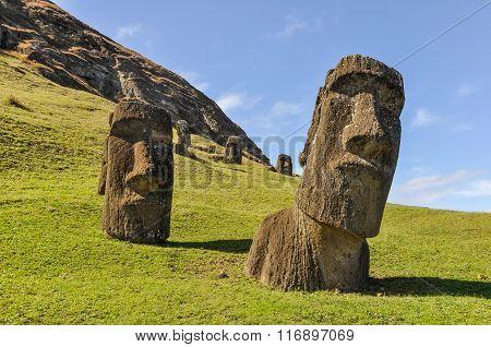 Moai Statues In Rano Raraku Volcano, Easter Island, Chile