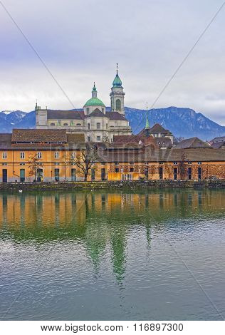 Waterfront With St Ursus Cathedral Of Solothurn