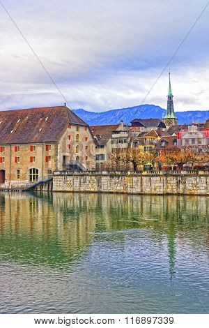 Waterfront With Landhaus And Clock Tower Of Solothurn In Switzerland