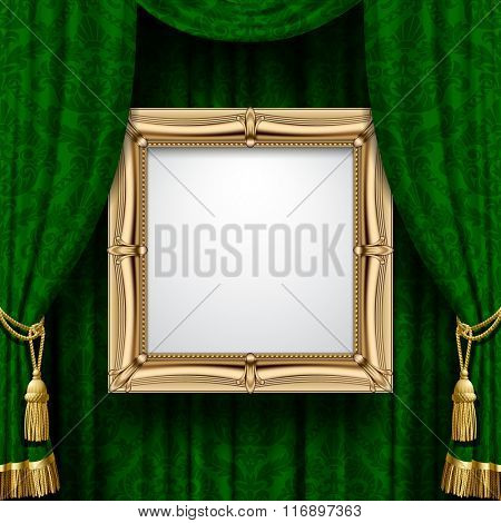Suspended gold frame on the ornamental green curtain background. Square presentation artistic poster and placard. Vector illustration