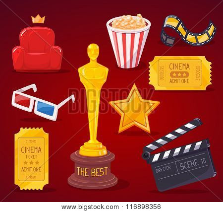 Vector Illustration Of Big Cinema Objects Collection On Red Background.