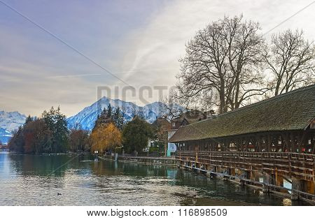Old Wooden Sluice Bridge In The Old Town Of Thun