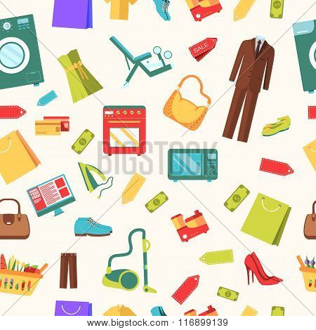 best shopping illustration concept. Template of icons seamless patern design. Many object purchased