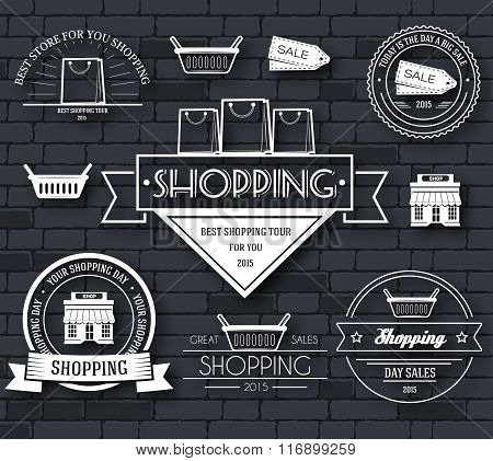Shopping set label template of emblem element for your product or design, web and mobile application